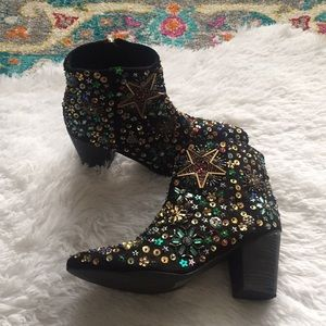 New Free People Night Out Sequin Beaded Ankle Boot